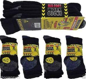 Men Ultimate Work Boot Socks BIG FOOT Cushion Sole Reinforced Toe, Size 11-14