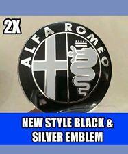 2x Alfa Romeo NEW STYLE B&W Emblem Badge for 147 156 GT 159 Brera Mito Giulietta