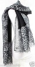CALVIN KLEIN Leopard Border Oversized Wrap Scarf  Black Gray     New $40