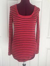 Free People Red Navy Striped Crochet Sleeve Hem Shirt Top  Sz XS