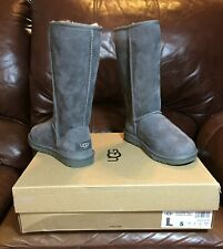 UGG® Women's Classic Tall II Grey Suede Leather Lined Winter Boots, 5 B US - NEW