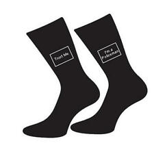 Mens 5-12 Black Cotton Socks Copper Police Joke - Trust Me I'm A Policeman