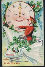 POSTCARD CHAUFFEUR AND SNOW CAR WISH OLD FATHER TIME A HAPPY NEW YEAR C1910