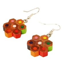 Recycled Pencil Crayon Hook Earrings Multi-Coloured Handmade in India Eco Gift