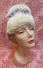 """VTG 1950s DESIRABLE """"STAR LADY FRANK PALMA ORIGINAL"""" Feather EGGSHELL HAT Excnt"""