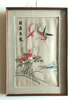 quadro vintage cinese ricamo decorativo su seta arte orientale