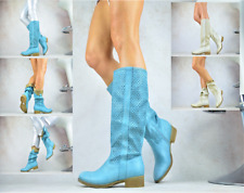 Diseñador Zapatos Patrón Agujeritos Rodilla Alta Verano Stiefeletten-Stiefel