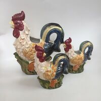 Vintage! Roosters Family CERAMIC TEA SET: TEAPOT, CREAMER, SUGAR. Very Detailed!