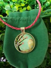 Fairy House Tree of Life Glass Cabochon Pendant Necklace On Leather Cord