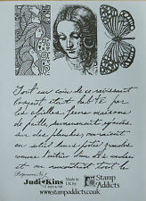 Unmounted Rubber Stamps Potpourri No.1 French Script Butterfly