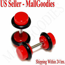 2049 Red Color Fake Cheater Illusion Faux Ear Plugs 16G Bar 4G = 5mm - 2pcs