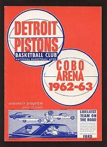1962/1963 Basketball Program Los Angeles Lakers at Detroit Pistons EX+