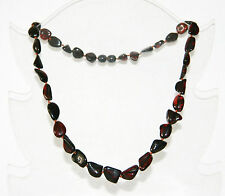 Baltic amber adult necklace, dark cherry color leaves beads 45 cm / 17.72 inch