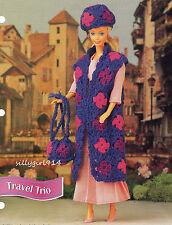 """LONG VEST~HAT~PURSE""~Crochet Pattern for FASHION DOLL"