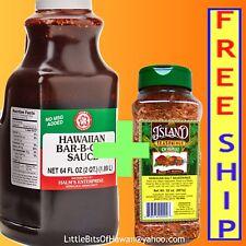 HALMS HAWAIIAN BARBECUE BBQ SAUCE MARINADE + ISLAND SEASONINGS SALT MIX RUB