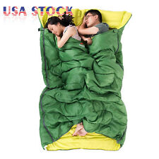 2 Person Cotton Sleeping Bag with 2 Pillows Camping Double Sleeping Bag + Sack