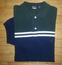Green Navy Yellow White Stripe S NAUTICA S/S Cotton Casual Golf Polo! c643