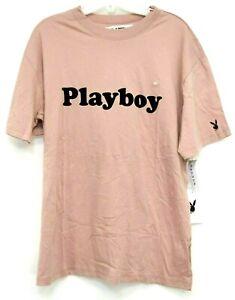 Neu Playboy Von Pacsun Herren Pastellrosa Skate Logo Athletic T-Shirt Sz M