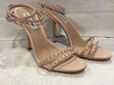 Steve Madden Wish Blush Leather Studded Ankle Wrap High Heel Shoes Size 7.5