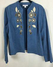 Dressbarn L Floral Embroidered Faux Suede Feel Suit Jacket Blazer Coat r