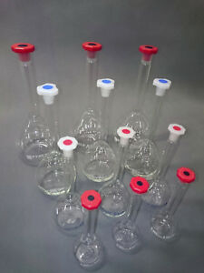 100ml, 250ml, 500ml, 1000ml Grade A volumetric flasks with stoppers set of 12