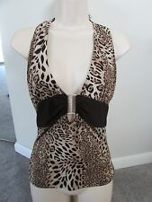 Red Bugs Leopard Print Halter Top Shirt Blouse W Belt Design In Center Small S