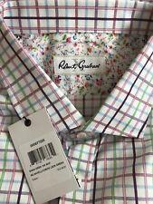 Pink Green Blue Burgundy on White Savelli Check ROBERT GRAHAM X Shirt 19 36/37