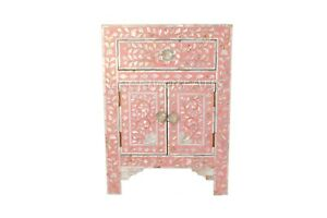 Mother of Pearl Floral Design Pink 1 Drawer 2 Door Bedside Table Nightstand