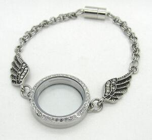 Stainless Steel Silver Crystal Floating Locket Angel Wings Bracelet for Charms