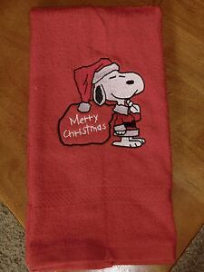 Embroidered Terry Hand Towel - Snoopy - Merry Christmas - Red Towel