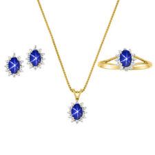 Diamond & Blue Star Sapphire Set - Ring, Earring & Pendant Necklace 14K Yellow