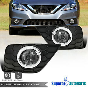 For 2016-2018 Nissan 16-18 Sentra Bumper Lamps Fog Lights Pair w/Switch