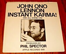JOHN LENNON INSTANT KARMA / WHO HAS SEEN THE WIND ORIGINAL APPLE 45 & PIC SLEEVE