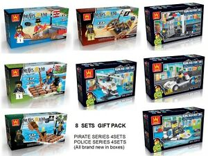 GIFT PACK - PIRATE SERIES & POLICE SERIES BUILDING BLOCKS (8 SETS IN GIFT PACK)