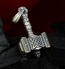 Sterling Silver Handmade 0.99oz 28g THORS HAMMER Pendant Necklace Viking MJOLNIR