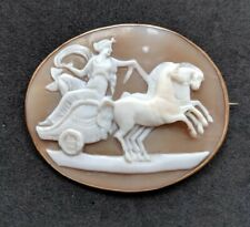 Antique Victorian Shell Cameo 9ct Gold Brooch Pin Aurora Goddess of Dawn
