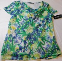 Notations womens short sleeve shirt blouse top S small green white multi NWT