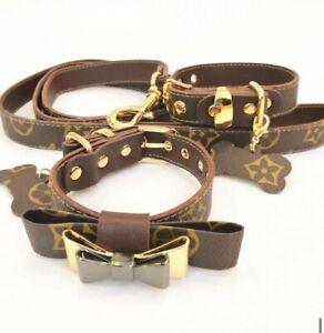 Luxury classic dog puppy collar matching leash set in present box