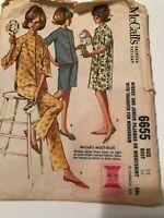 Vtg 60s McCall's 6655 3/4 & Short Sleeve Pajamas Nightshirt Gown Junior 13
