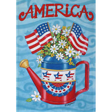 """""""AMERICA""""  FLAGS, WATERING CAN, DAISES SMALL GARDEN FLAG 12.5"""" X 18"""""""