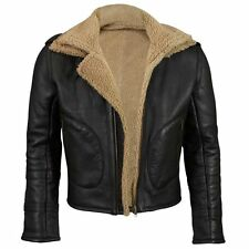 VIPARO Shearling Bomber Fur Lined Leather Jacket