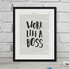 Work Like A Boss quote On Vintage Dictionary Book Page Art Print Antique FRAMED