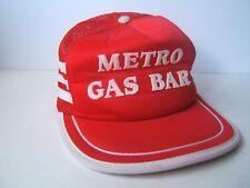 Metro Gas Bar Side Stripe Hat Vintage Red Snapback Trucker Cap