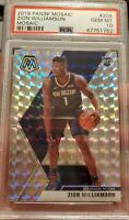 Zion Williamson 2019-20 #209 Mosaic Rookie Silver Wave Prizm PSA 10 GEM MINT RC