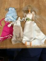 Vintage 1962 1958 Midge Barbie Blonde Ponytail Hair Doll Bride 3 Vintage Dresses