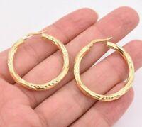 """1 3/8"""" 35mm Diamond Cut Twisted Hoop Earrings 14K Yellow Gold Clad Silver 925"""