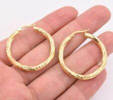 """Earrings 14K Yellow Gold Clad Silver 925 1 3/8"""" 35mm Diamond Cut Twisted Hoop"""
