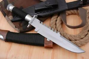 "RAMBO KNIFE CUSTOM HANDMADE D2 STEEL 14"" CAMMANDO HUNTING KNIFE HALLOW HANDLE"