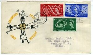 GB 1957 SCOUT JUBILEE JAMBOREE FIRST DAY COVER SUTTON COLDFIELD METER