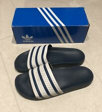Adidas Originals Navy Blue / White Adilette Slides Sandals Size 9